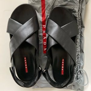 Prada Crossover Leather Strap Sandals